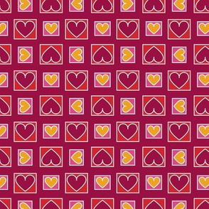 Boxes of Hearts in Burgundy, Red, Pink and Saffron Paducaru
