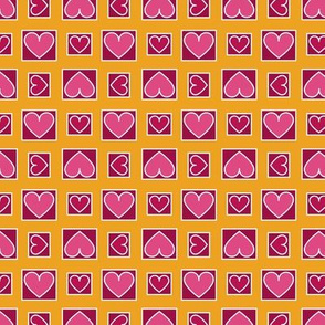 Boxes of Hearts in Pink, Red and Saffron Paducaru