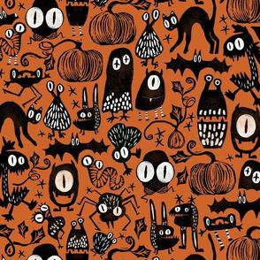 Gothic Halloween Monsters {orange}