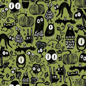Gothic Halloween Monsters {green}