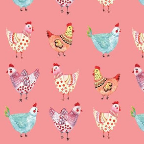Coral Watercolor Chickens Spring Summer