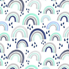 Boy Rainbows Pastel Mint Navy Blue Watercolor Raindrops