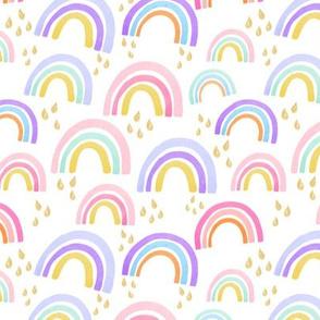 Girl Pastel Watercolor Rainbows Gold Rain Drops