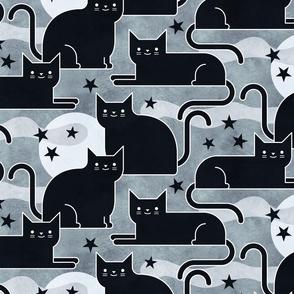 Black Cats - Halloween Night Cat- Moon and Stars