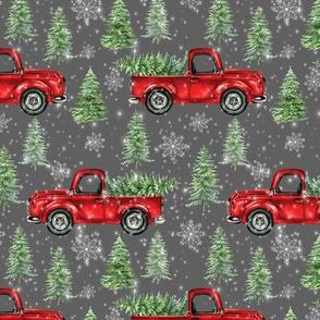 Red Christmas Truck Dark Gray Snow Christmas Trees
