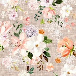 Tan Linen Fall Watercolor Floral