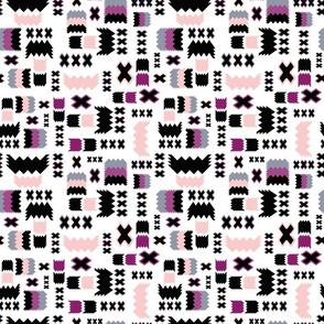 Tribal Geometric Pink Fushchia Grey