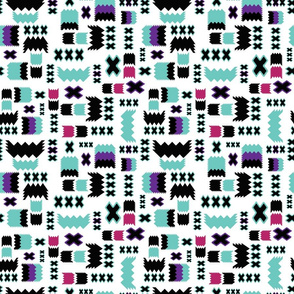 Tribal Geometric Teal Purple Pink