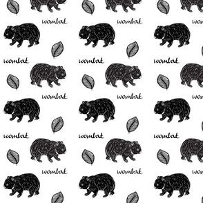 Aussie wombat -black on white