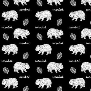 Aussie Wombat- white on black