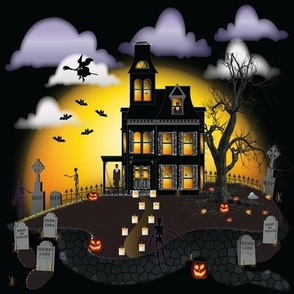 "8"" Halloween Gothic Haunted House | Graveyard Pattern"