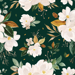 gold magnolia floral on monstera green background - oversized