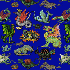 Medieval Dragons and Monsters Large - Blue