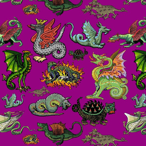Medieval Dragons and Monsters Large - Magenta
