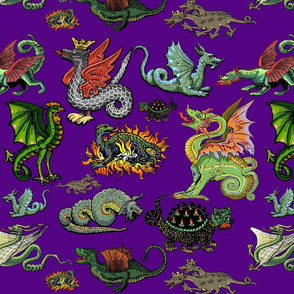 Medieval Dragons and Monsters Large - Purple