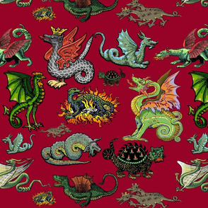 Medieval Dragons and Monsters Large - Red