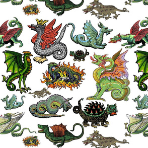 Medieval Dragons and Monsters Large - White