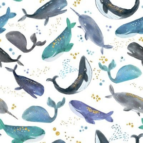 watercolor blue gray whales with gold