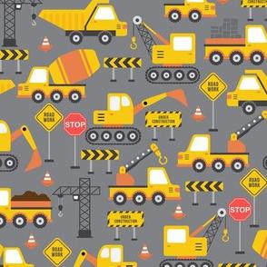 road work construction yellow gray