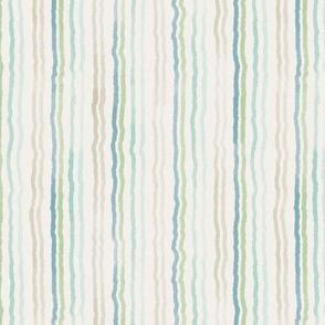 watercolor stripes beachy blue green tan