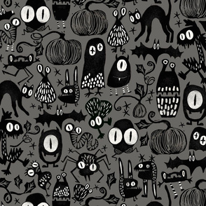 Gothic Halloween Monsters {gray}