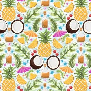 Pina colada, summer cocktail drink, pineapple and coconut, spring vibes, sea vacation, Blue waves geometric