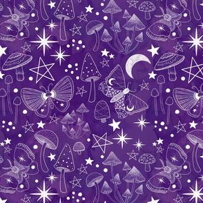 Magical Mushrooms and Moths Plum Purple