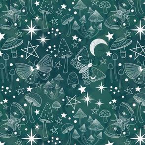 Magical Mushrooms and Moths Green