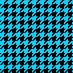 Black and Turquoise Houndstooth Larger