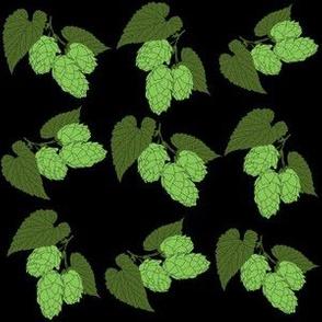 Green Hops on Black
