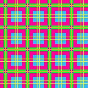 Neon Rainbow Plaid