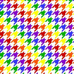 Rainbow on White Houndstooth