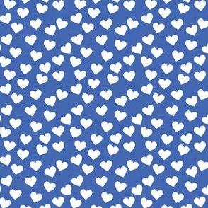 White hearts on royal blue (mini)