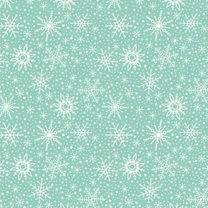 Snowflakes Teal | Small Scale