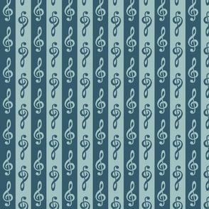 Treble Clef Stripe - Blue