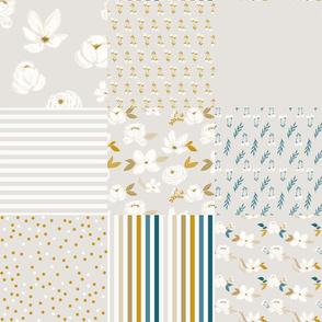 soft & subtle floral cheater quilt  - greige