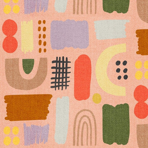 Painted Organic Shapes Peach Denim Large Scale