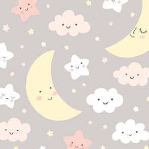 Cute Night Sky withmoon, stars and clouds