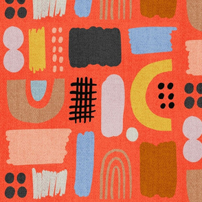 Painted Organic Shapes Red Denim Large Scale
