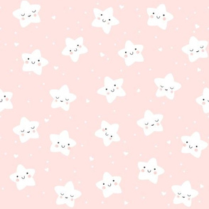 Cute Smiling Star Pattern in Pink and White