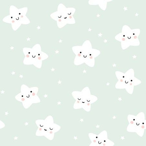 Cute Smiling Star Pattern in Mint and White