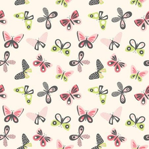 Small Colorful Butterflies on Cream background