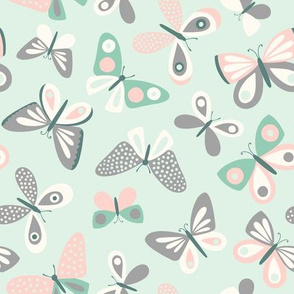 Pink Mint and Gray Butterflies