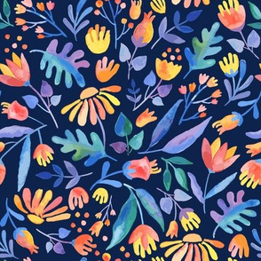 Colorful Watercolor Floral Pattern on dark navy background