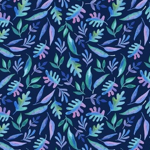 Watercolor Foliage in shades of Blue, Green and Purple on dark navy background