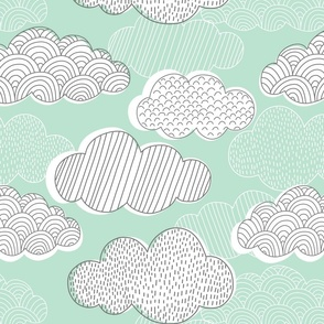 Mint Gray and White Patterned Clouds