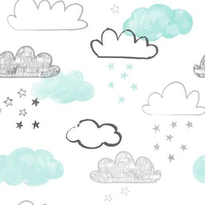 Mint and Gray Cloud and Stars Pattern