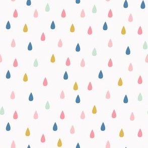 Cute Colorful Raindrops on a light background