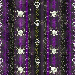 Vines O' Death -- Purple  -- Halloween Wicca Skull Skeleton Victorian Vine Lace