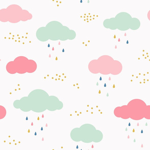 Mint and Pink Clouds with Colorful Rain